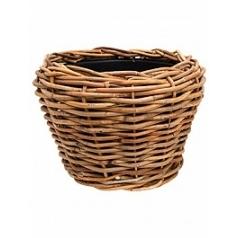 Кашпо Nieuwkoop Drypot rattan (thick) round brown, коричнево-бурого цвета