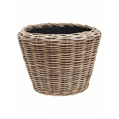 Кашпо Nieuwkoop Drypot rattan round grey, серого цвета outdoor