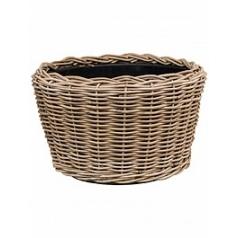 Кашпо Nieuwkoop Drypot rattan round grey, серого цвета