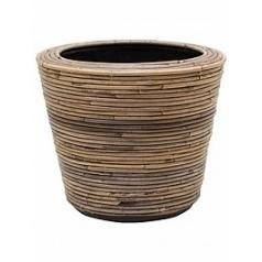 Кашпо Nieuwkoop Drypot rattan stripe round grey, серого цвета