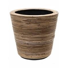 Кашпо Nieuwkoop Drypot rattan stripe round, grey, серого цвета
