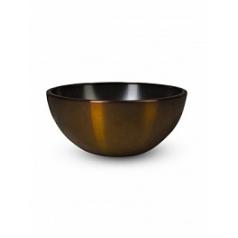 Кашпо Nieuwkoop Aluminium bowl aluminium brushed brown, коричнево-бурого цвета-beige