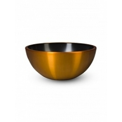Кашпо Nieuwkoop Aluminium bowl aluminium brushed gold, под цвет золота-orange