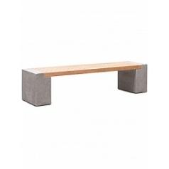 Кашпо Fleur Ami Modulo division с лавкой combi set g natural-фактура под бетон / teak Длина — 224 см