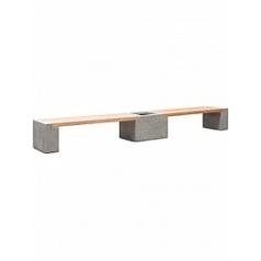 Кашпо Fleur Ami Modulo division с лавкой combi set L размер natural-фактура под бетон / teak Длина — 395 см