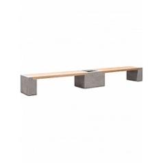 Кашпо Fleur Ami Modulo division с лавкой combi set M размер natural-фактура под бетон / teak Длина — 475 см