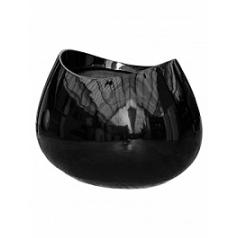 Кашпо Livingreen blob 3 polished black, чёрного цвета Длина — 110 см