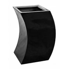 Кашпо Livingreen curvy marilyn 1 polished jet black, чёрного цвета Длина — 35 см
