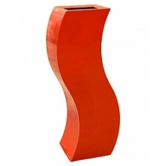 Кашпо Livingreen curvy s1 polished flame red, красного цвета Длина — 35 см