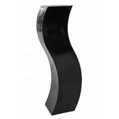 Кашпо Livingreen curvy s2 polished jet black, чёрного цвета Длина — 35 см