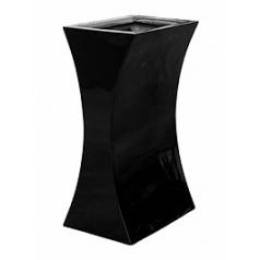 Кашпо Livingreen curvy sophia 1 polished jet black, чёрного цвета Длина — 26 см
