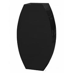 Кашпо Livingreen curvy ursula 3 polished jet black, чёрного цвета Длина — 67 см