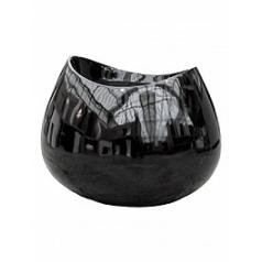 Кашпо Livingreen lob 2 polished black, чёрного цвета Длина — 98 см