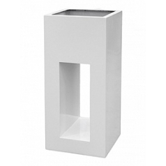 Кашпо Livingreen tower holey design 01 polished brilliant white, белого цвета Длина — 40 см