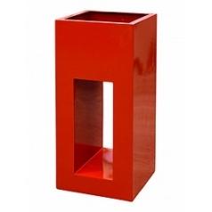 Кашпо Livingreen tower holey design 01 polished flame red, красного цвета Длина — 40 см