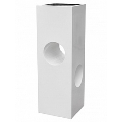Кашпо Livingreen tower holey design 02 polished brilliant white, белого цвета Длина — 40 см