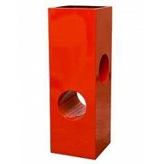 Кашпо Livingreen tower holey design 02 polished flame red, красного цвета Длина — 40 см