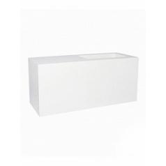 Кашпо Pottery Pots Fiberstone glossy white, белого цвета jort с лавкойing S размер Длина — 100 см