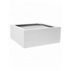 Кашпо Pottery Pots Fiberstone glossy white, белого цвета jumbo low S размер Длина — 60 см