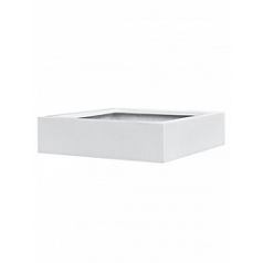 Кашпо Pottery Pots Fiberstone glossy white, белого цвета jumbo low XL размер Длина — 100 см