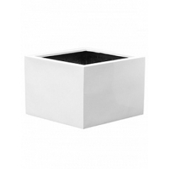 Кашпо Pottery Pots Fiberstone glossy white, белого цвета jumbo middle high XL размер Длина — 110 см