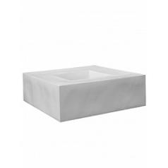 Кашпо Pottery Pots Fiberstone glossy white, белого цвета jumbo с лавкойing Длина — 140 см