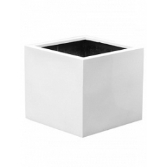 Кашпо Pottery Pots Fiberstone glossy white, белого цвета jumbo without feet M размер Длина — 70 см