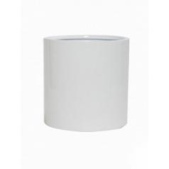 Кашпо Pottery Pots Fiberstone glossy white, белого цвета puk L размер  Диаметр — 25 см