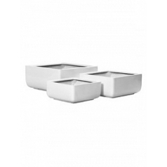 Кашпо Pottery Pots Fiberstone glossy white, белого цвета sphere (3) Длина — 49 см