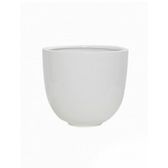 Кашпо Pottery Pots Fiberstone glossy white, белого цвета tim S размер  Диаметр — 26 см