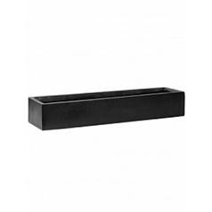 Кашпо Pottery Pots Fiberstone balcony slim low black, чёрного цвета M размер Длина — 60 см