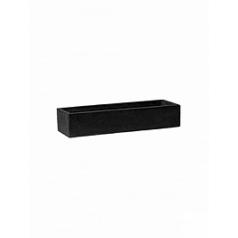 Кашпо Pottery Pots Fiberstone balcony slim low black, чёрного цвета S размер Длина — 50 см