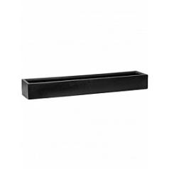 Кашпо Pottery Pots Fiberstone balcony slim low black, чёрного цвета XL размер Длина — 80 см