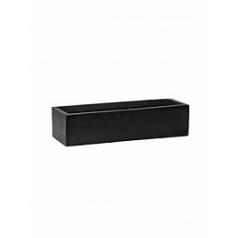 Кашпо Pottery Pots Fiberstone balcony slim low black, чёрного цвета XS размер Длина — 40 см