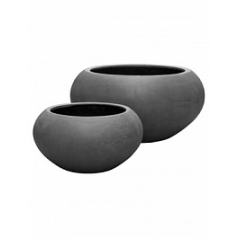 Кашпо Pottery Pots Fiberstone cora grey, серого цвета S размер  Диаметр — 47 см