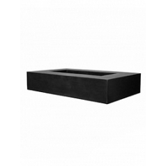 Кашпо Pottery Pots Fiberstone jumbo с лавкойing low black, чёрного цвета Длина — 250 см