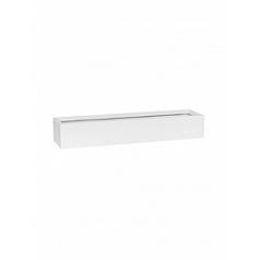 Кашпо Pottery Pots Fiberstone matt white, белого цвета balcony slim low M размер Длина — 60 см