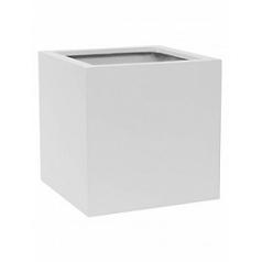 Кашпо Pottery Pots Fiberstone matt white, белого цвета block M размер Длина — 40 см