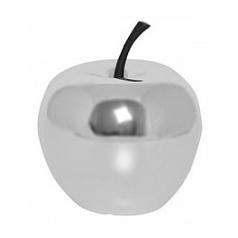 Яблоко декоративное Pottery Pots Fiberstone platinum под цвет серебра apple XS размер  Диаметр — 15 см