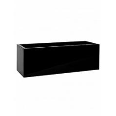 Кашпо Pottery Pots Fiberstone glossy black, чёрного цвета balcony M размер Длина — 60 см