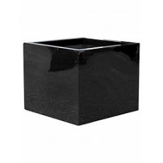 Кашпо Pottery Pots Fiberstone glossy black, чёрного цвета block XL размер Длина — 60 см
