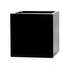 Кашпо Pottery Pots Fiberstone glossy black, чёрного цвета fleur L размер Длина — 25 см