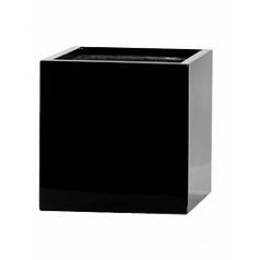 Кашпо Pottery Pots Fiberstone glossy black, чёрного цвета fleur M размер Длина — 20 см
