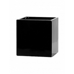 Кашпо Pottery Pots Fiberstone glossy black, чёрного цвета fleur S размер Длина — 15 см