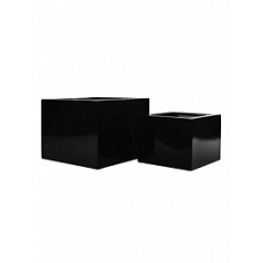 Кашпо Pottery Pots Fiberstone glossy black, чёрного цвета middle high block (2) Длина — 45 см