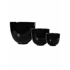 Кашпо Pottery Pots Fiberstone glossy black, чёрного цвета tim (3)  Диаметр — 46 см