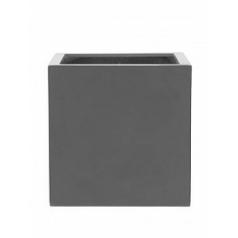 Кашпо Pottery Pots Fiberstone glossy grey, серого цвета block L размер Длина — 50 см