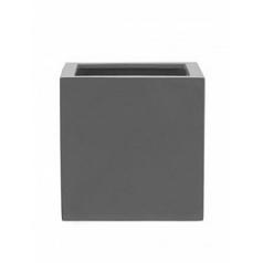 Кашпо Pottery Pots Fiberstone glossy grey, серого цвета block M размер Длина — 40 см
