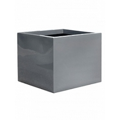 Кашпо Pottery Pots Fiberstone glossy grey, серого цвета block XL размер Длина — 60 см