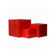 Кашпо Pottery Pots Fiberstone glossy red, красного цвета block Длина — 45 см